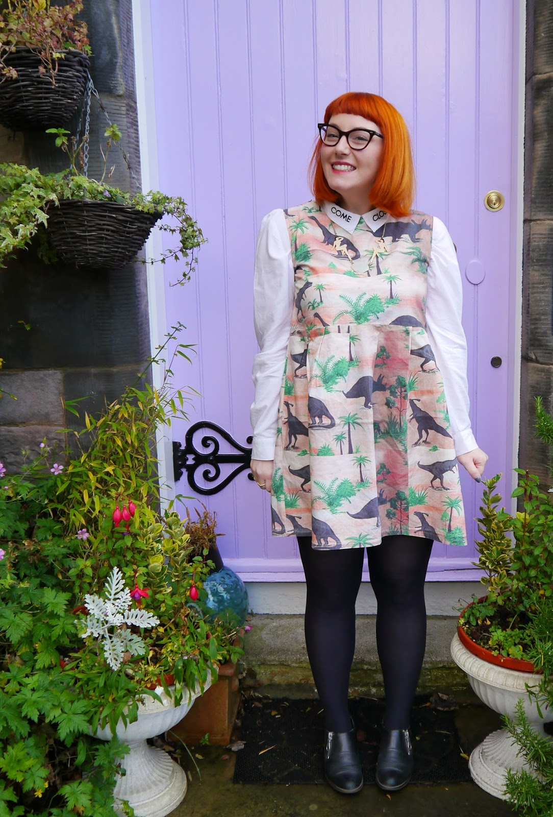Scottish Blogger, Christmas Shopping, Edinburgh Blogger, Edinburgh, Scotland Re:Designed, Limited Edition Pop Up, Dinosaur Dress, Monki Come Close Shirt, Vintage Style Me Dinosaur Dress, Karen Mabon necklace, Clarks boots, outfit, what I wore