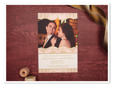 glamorous pink and gold printable diy wedding save the date design