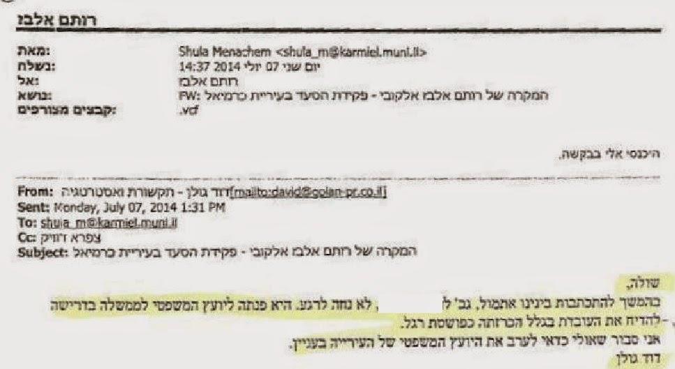 דוד גולן מתערב במינויה של פקידת הסעד רותם אלבז אלקובי מלשכת הרווחה כרמיאל