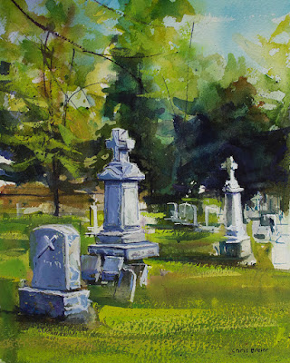 A painting of a cemetery in Williamsville NY