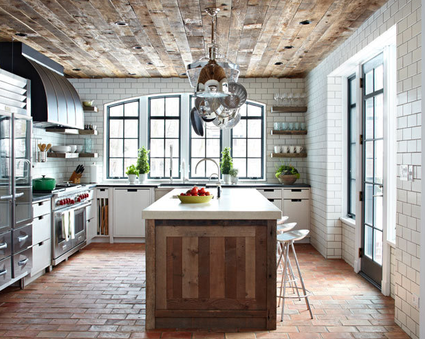 rustic kitchen brick floors reclaimed wood ceiling
