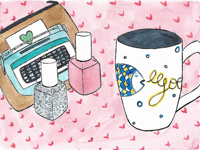 mug, nail art, machine à écrire