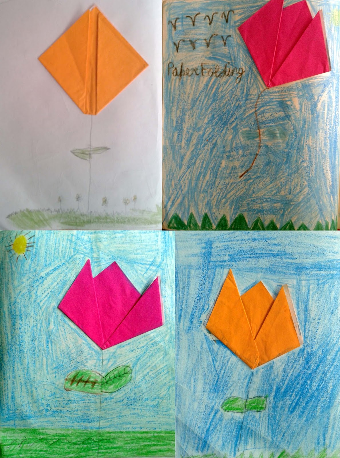 Students Learn Paper Folding Art For Making Tulip Flower And Then Adding Background To It