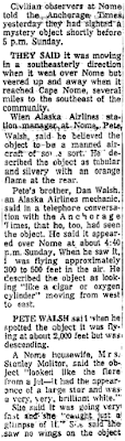 Mystery Objects Are Confirmed (Pt 2) – Anchorage Daily Times 2-16-1960