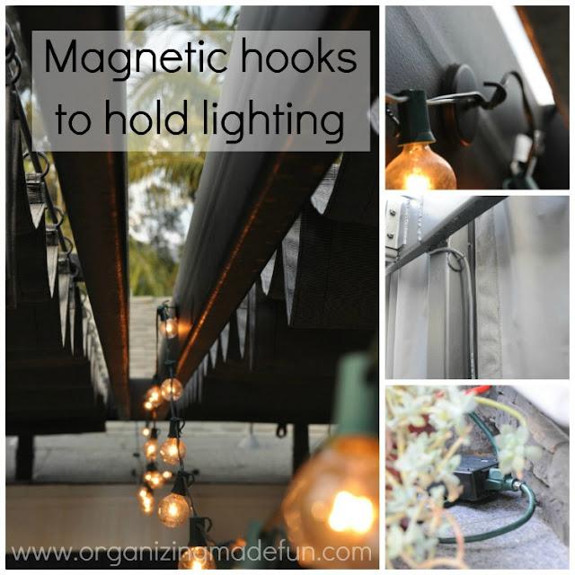 Magnetic hooks for lighting
