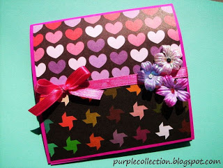 Love Pattern Card, black,pink, ribbon