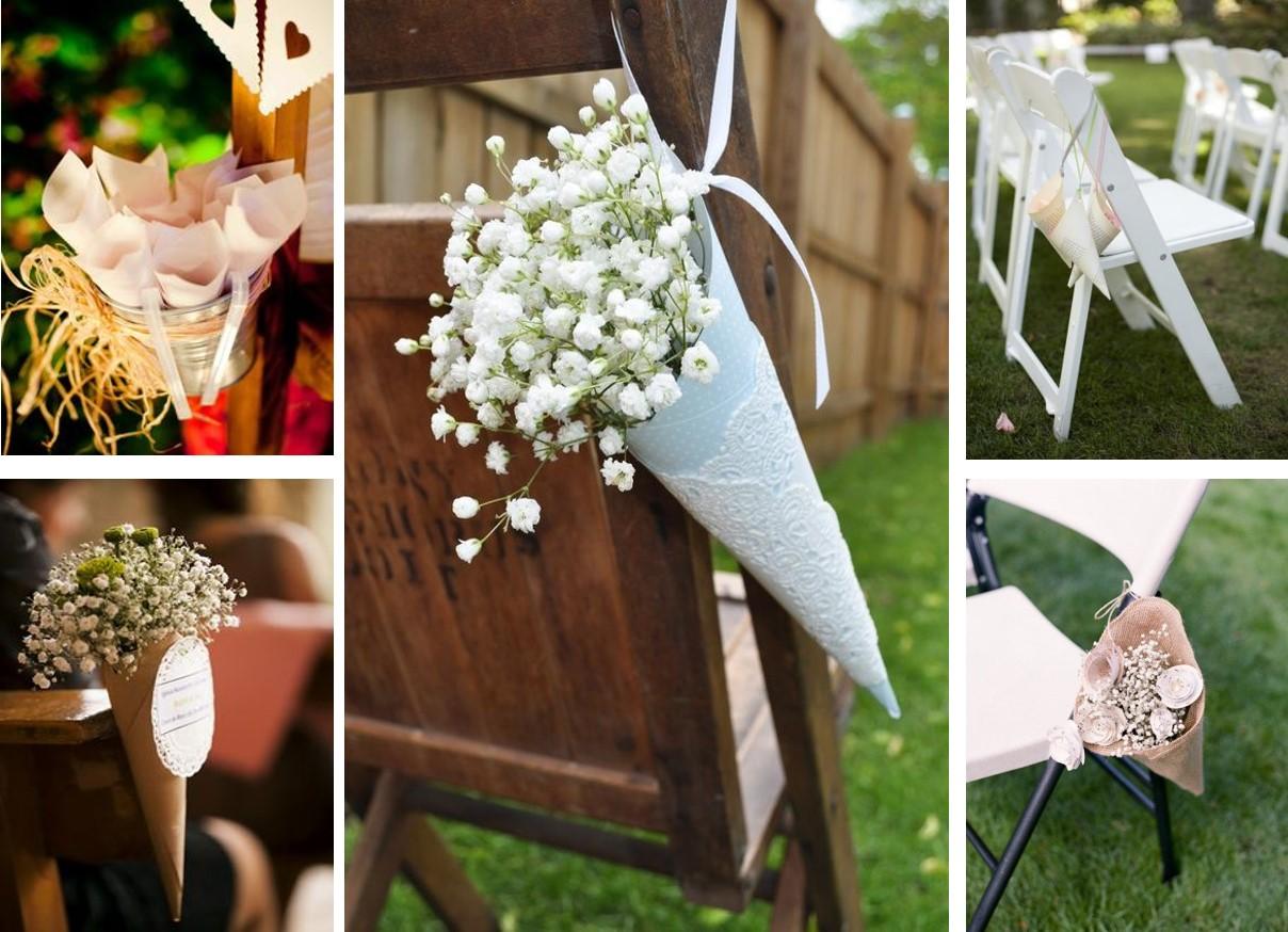 Cucuruchos de papel para decorar el camino al altar