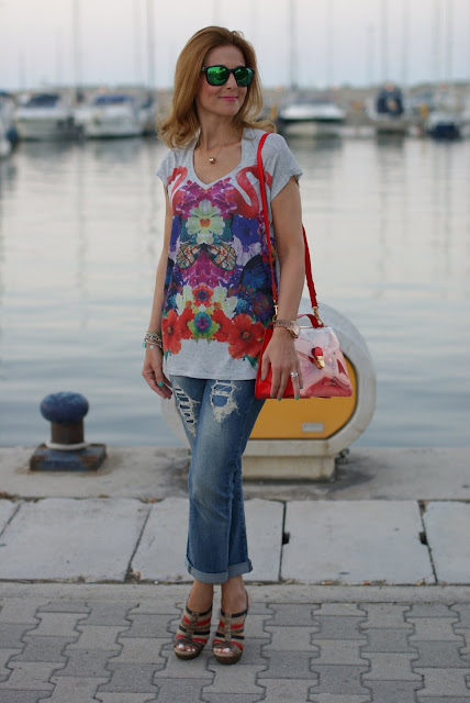 Summer outfit, flamingo blouse, Zara boyfriend jeans, Marc by Marc Jacobs transparent bag, Fashion and Cookies