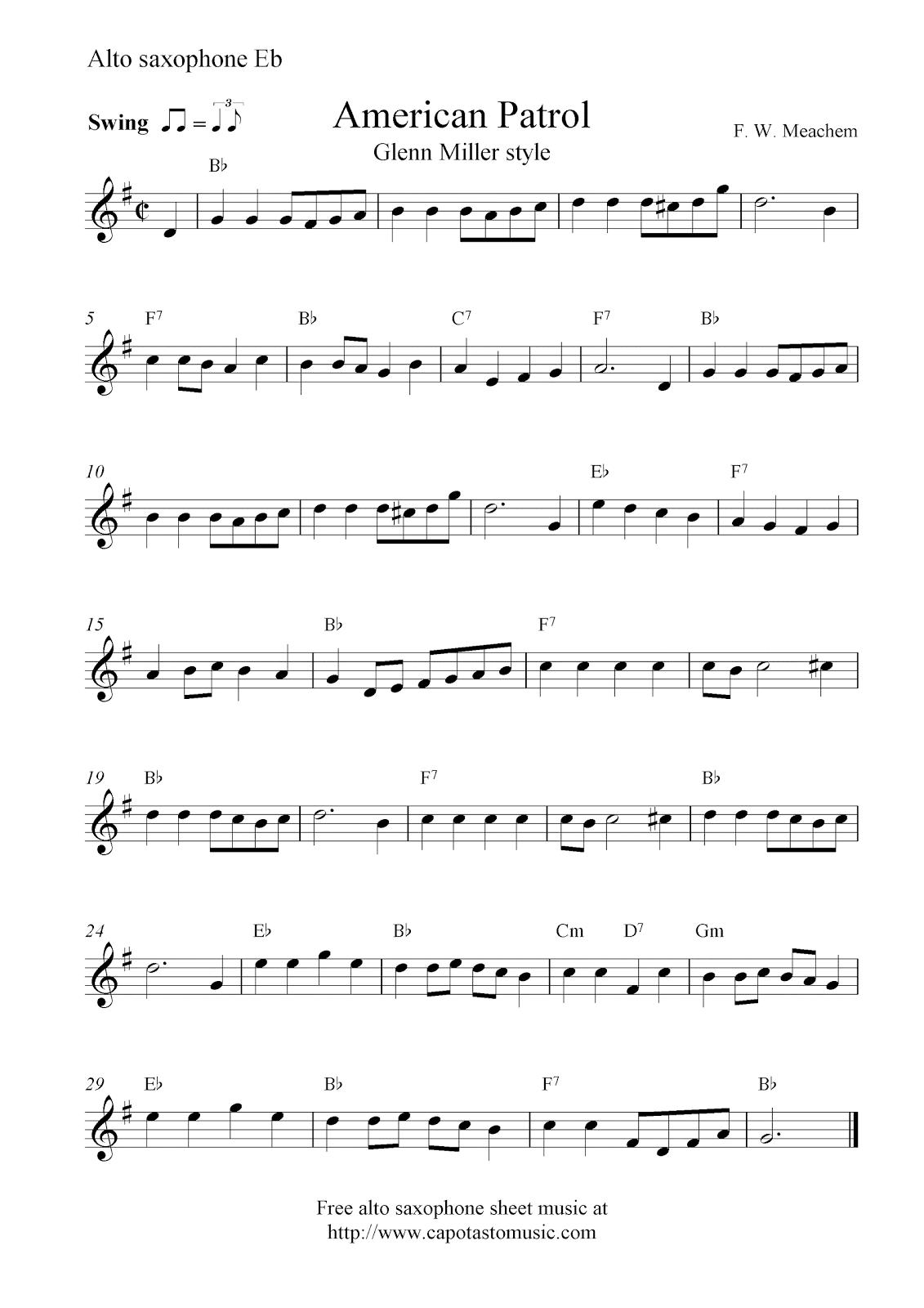 Saxophone sheet music
