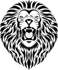 Motif Tato Singa Hitam Putih 16