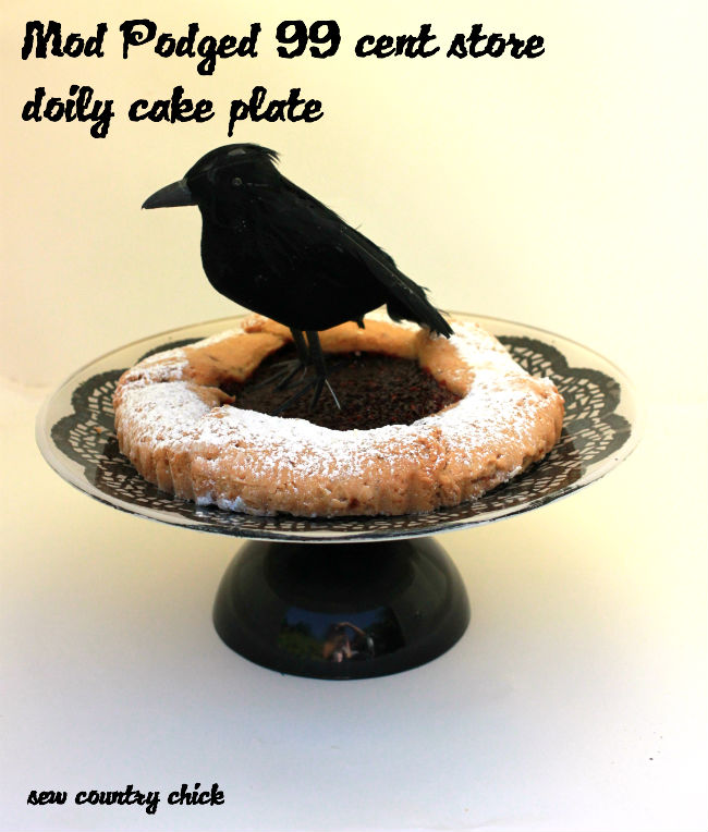 & Mod Podged Black Doily Cake Plate Tutorial