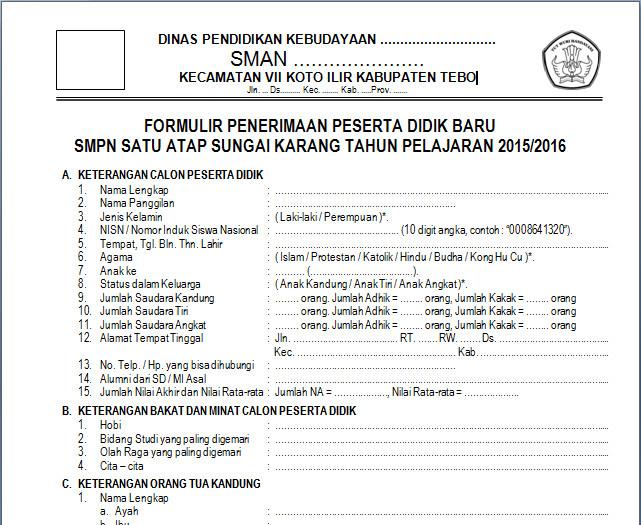 Formulir PSB untuk Pendaftaran Siswa Baru SMA/SMK/MA Tahun Pelajaran Baru 2015-2016