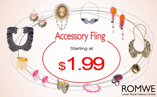 Romwe accessory fling sale, start at $1.99