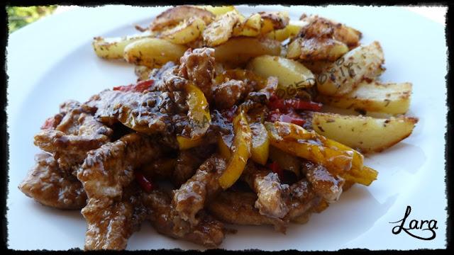 straccetti di carne con peperoni e aceto balsamico