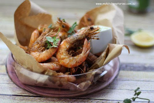 a bowlful of crispy salt and pepper prawns