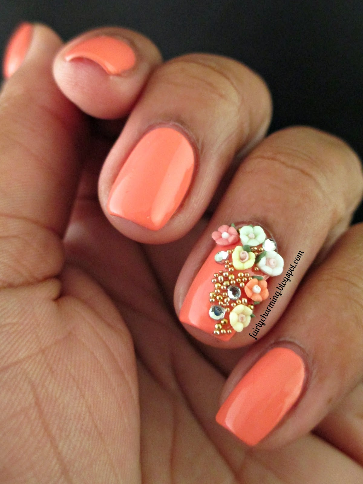 Revlon Apricot Nectar, simple, elegant, spring, cream, creme, flowers, acrylic flowers, beads, studs, soft, easy, coral, orange, nails, nail art, nail design, mani