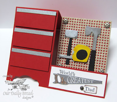 Our Daily Bread Designs Stamp sets: World's Greatest, ODBD Custom Dies: Pegboard and Hooks, Tool  Time , Mini Tags
