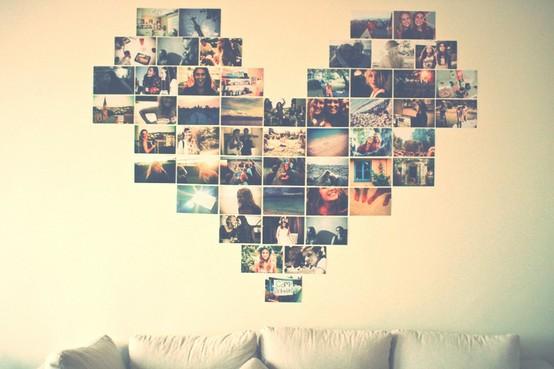 mural de fotos coração tumblr