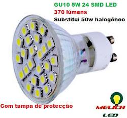 Lâmpadas LED GU10 5W 370 lúmens