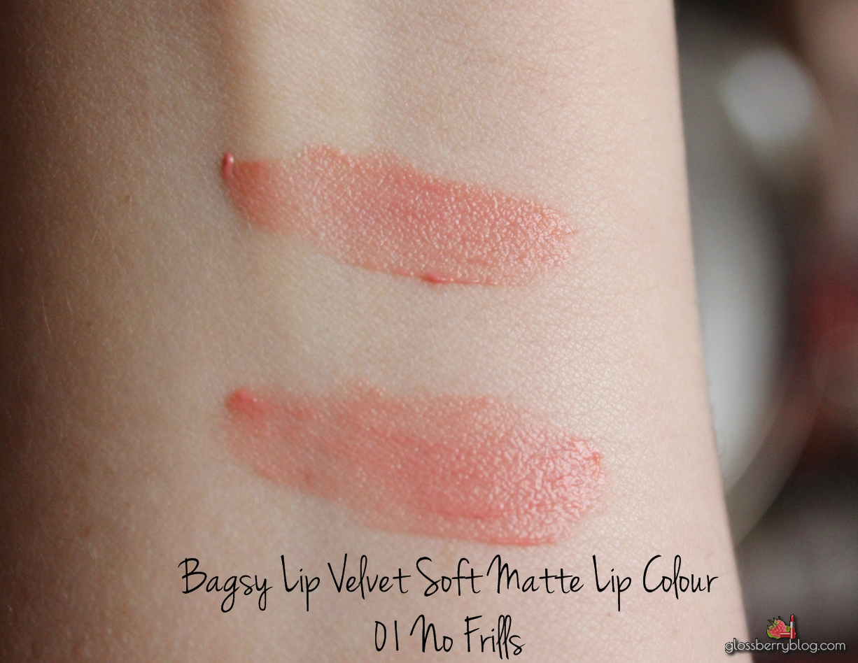 bagsy lip velvet soft matte lip color colour no frills review swatch feelunique פילוניק גלוסברי glossberry blog לבלוג איפור וטיפוח