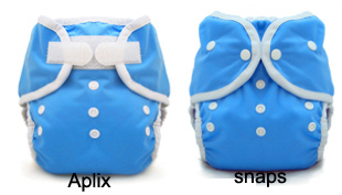review of cloth diaper closures in snaps and hook-and-loop