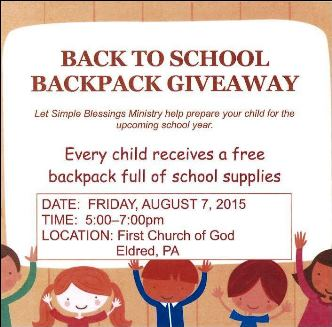8-7 Backpack Giveaway First Church Of God