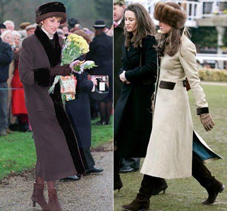 Даяна и Кейт Мидълтън  с дълго палто с гарнитури