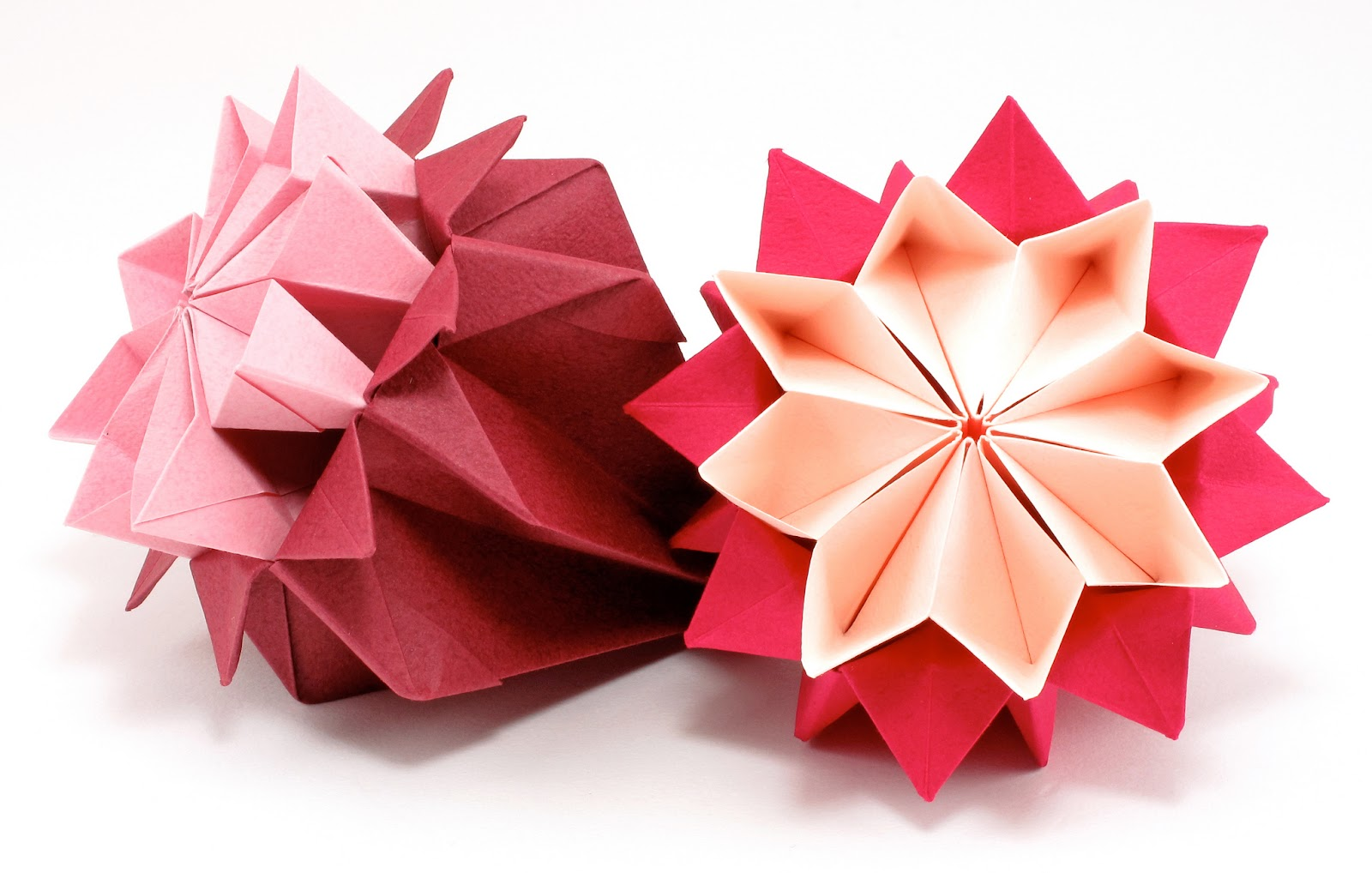 Bead origami origami interlude kusudama i used 15 by 15 cm tant paper for these flowers this paper comes in a rainbow pack and in packs of different hues and the red pack contains 12 different mightylinksfo Gallery