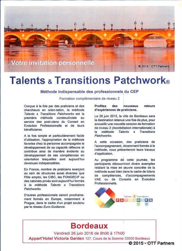 La méthode constructiviste Talents & Transitions Patchwork en séminaire à Bordeaux