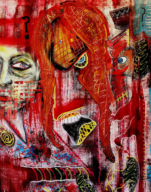 """""""What's to Become of Us"""" Acrylic, Ink & Pastel on Canvas by  Penelope Przekop"""