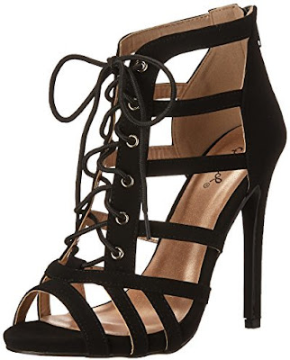 Qupid black strappy high heeled shoes