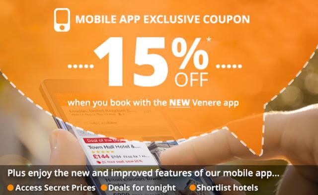 少有優惠! Venere .com 「手機版」超筍85折優惠碼,9月7日前有效。