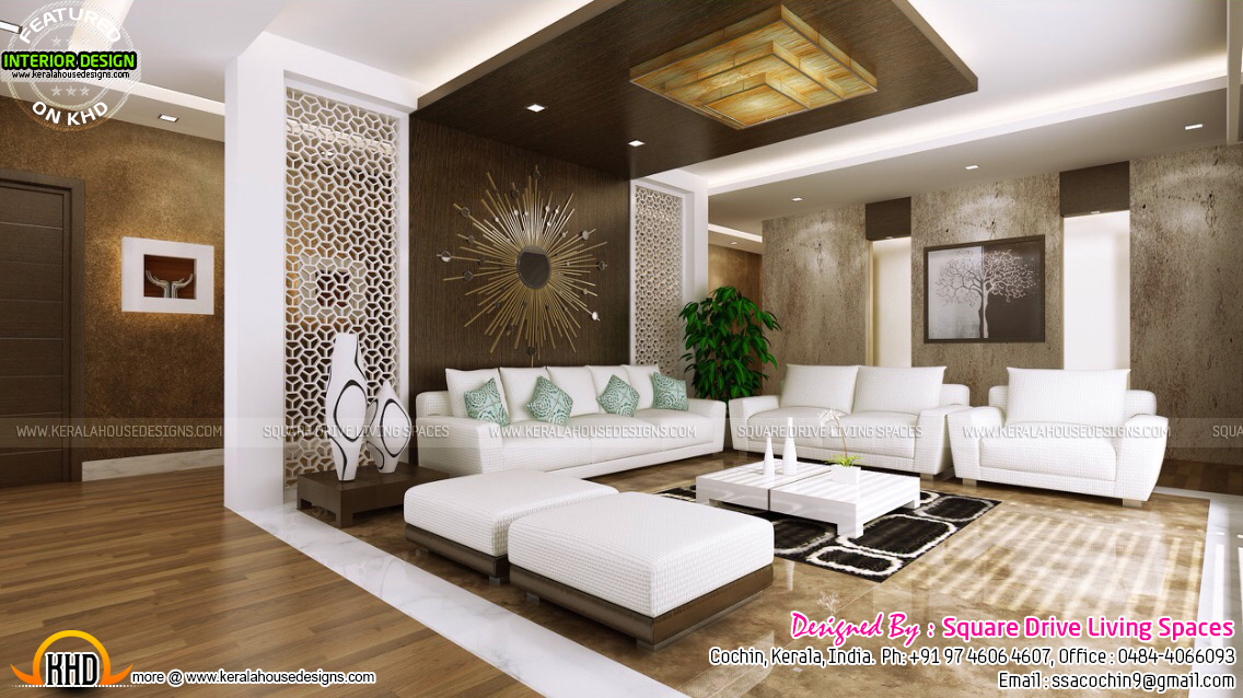 September 2015 kerala home design and floor plans for Kerala house living room interior design