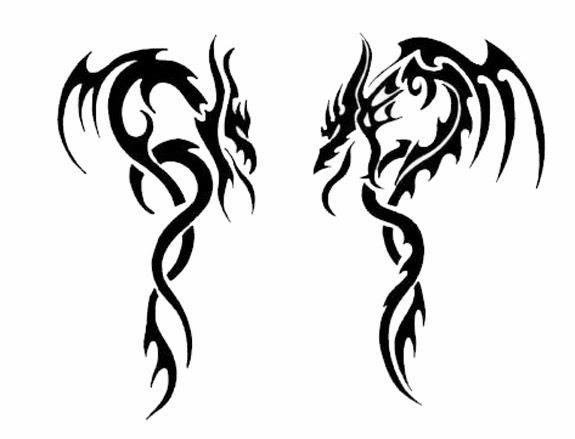 Two dragons tribal tattoo stencil