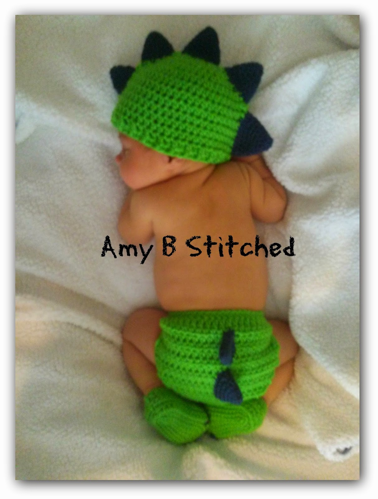 Crochet Dinosaur Hat And Diaper Cover Pattern : A Stitch At A Time for Amy B Stitched: DINOSAUR BABY Hat ...