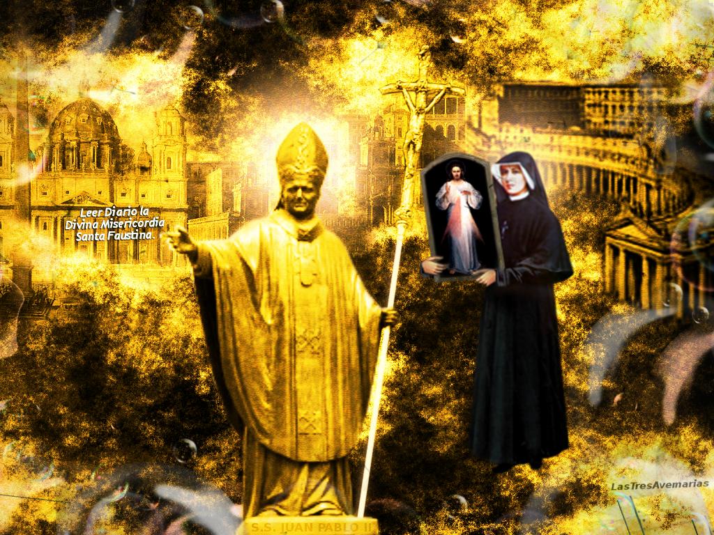 el cuadro de jesus en brazos de santa faustina y el papa juan pablo segundo santo de oro