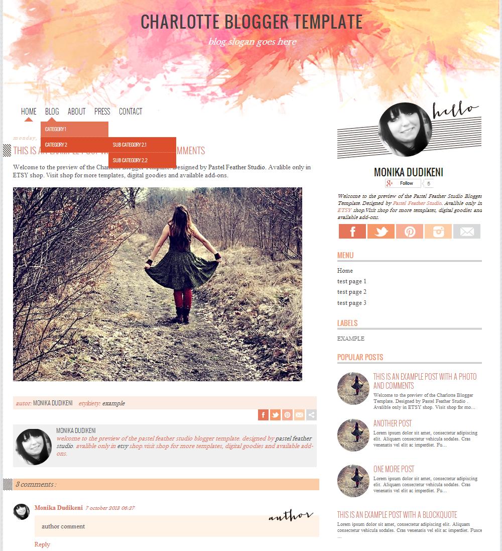 New Blogger Design In Etsy Shop Charlotte Blogger Template P