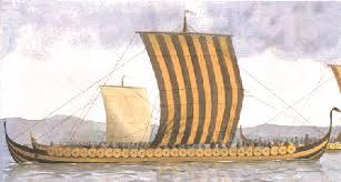Gambar Kapal Layar Longship di tiup angin