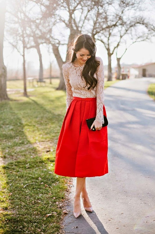 Wearing a Long Sleeved Lace Top with a Pop of Red Skirt for a Romantic Style
