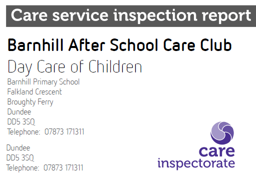 Barnhill After School Care Club - Care Inspectorate Report 2014
