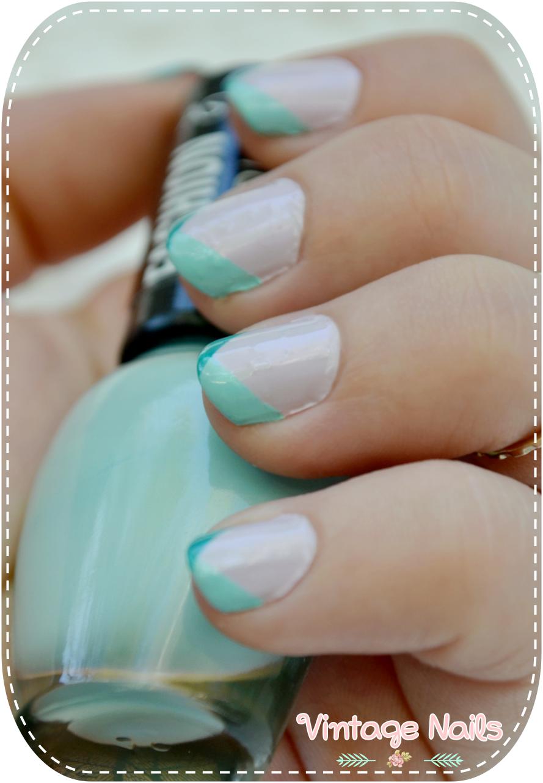 Manicura francesa geom trica de colores vintage nails - Manicura francesa colores ...