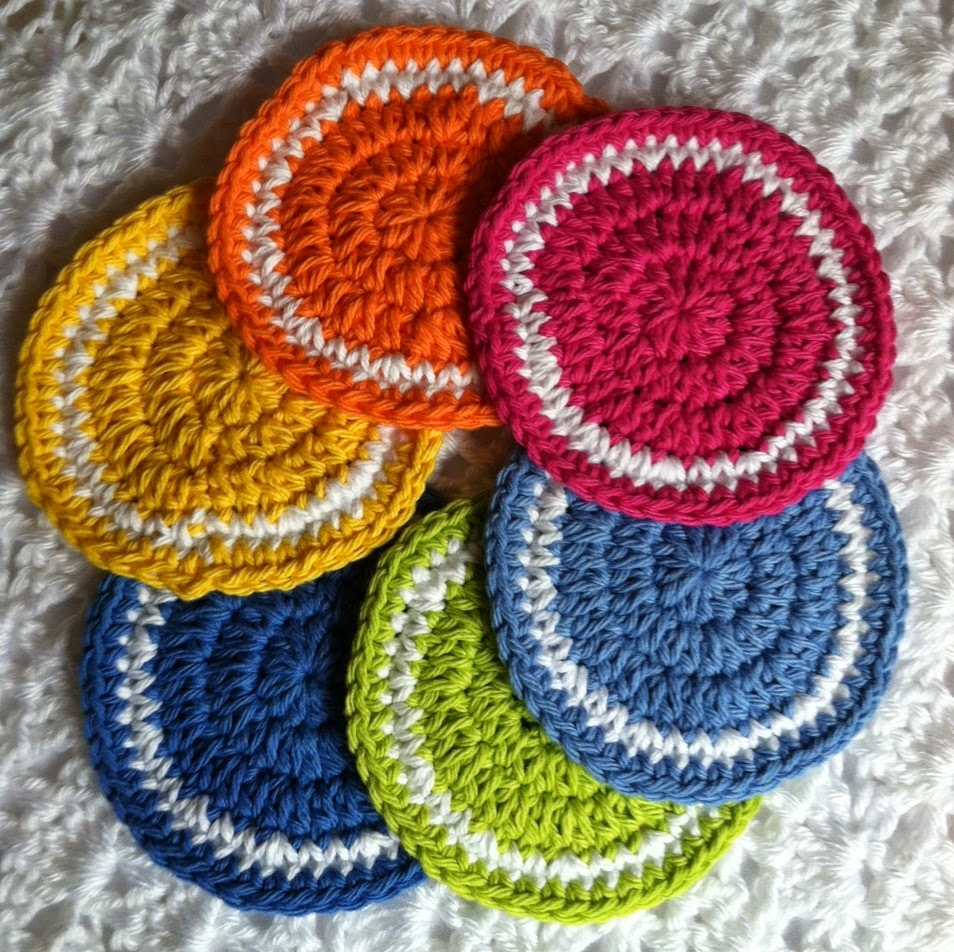 Crochet Patterns Coasters : ... : FREE Crochet Coaster Pattern! Colors of the Rainbow Coaster...