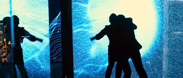 James Bond fights an enemy in Shanghai in Skyfall