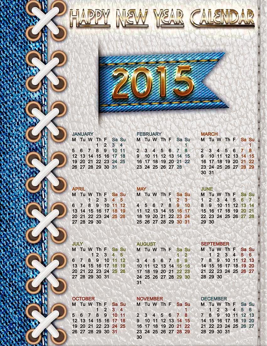 Textura de piel y mezclilla con un calendario 2015 en inglés
