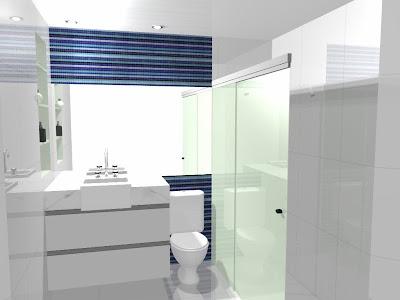 Banheiros com pastilhas de vidro listras e cuba de semi-encaixe