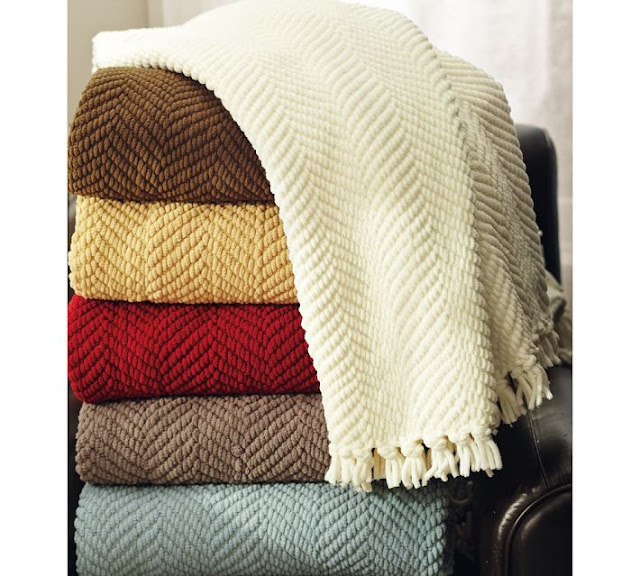 Copy cat chic pottery barn grand chenille throw - Living room throw blankets ...