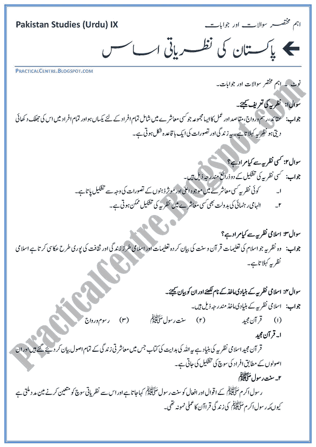 ideological-basis-of-pakistan-short-question-answers-pakistan-studies-urdu-9th