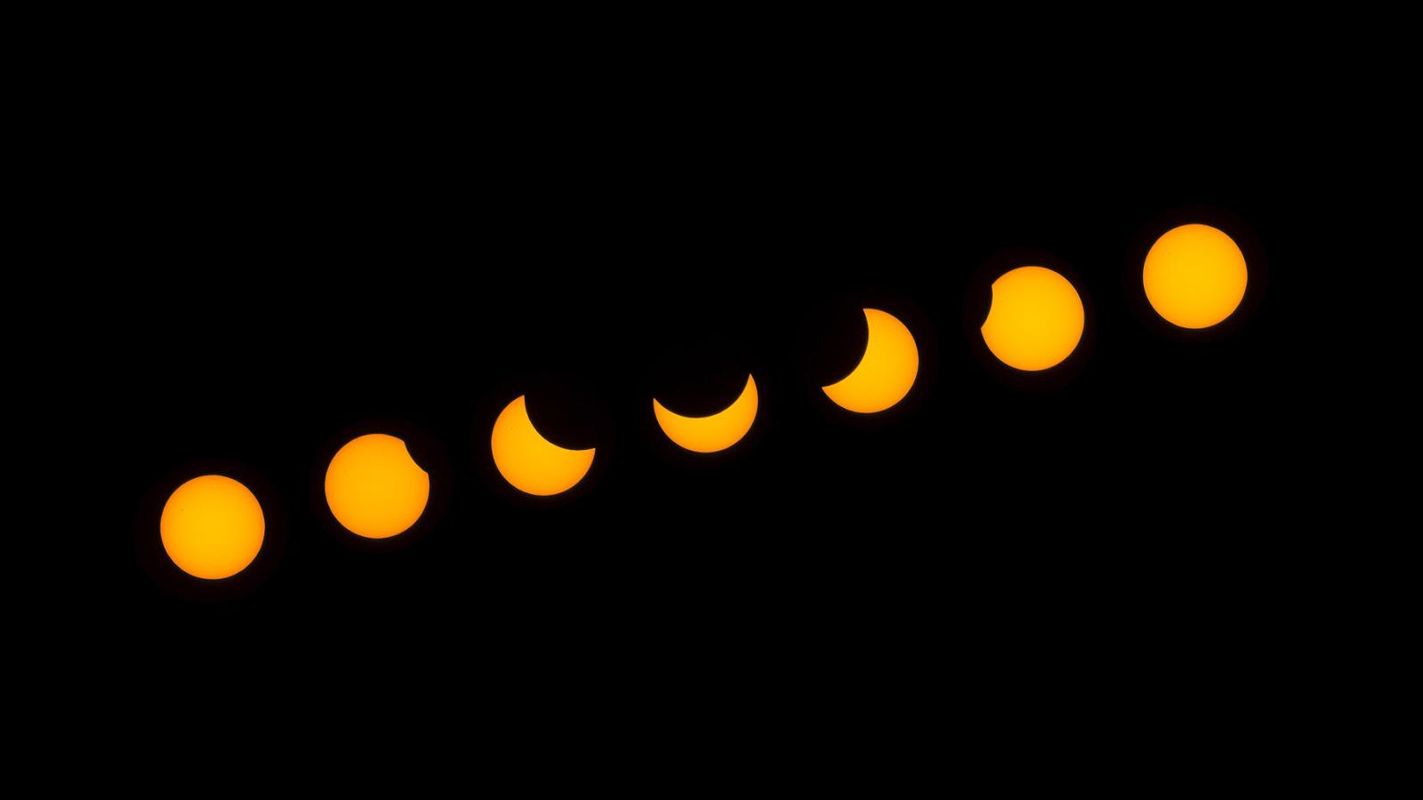 A 2015 március 20-i napfogyatkozás fázisai egy kollázson