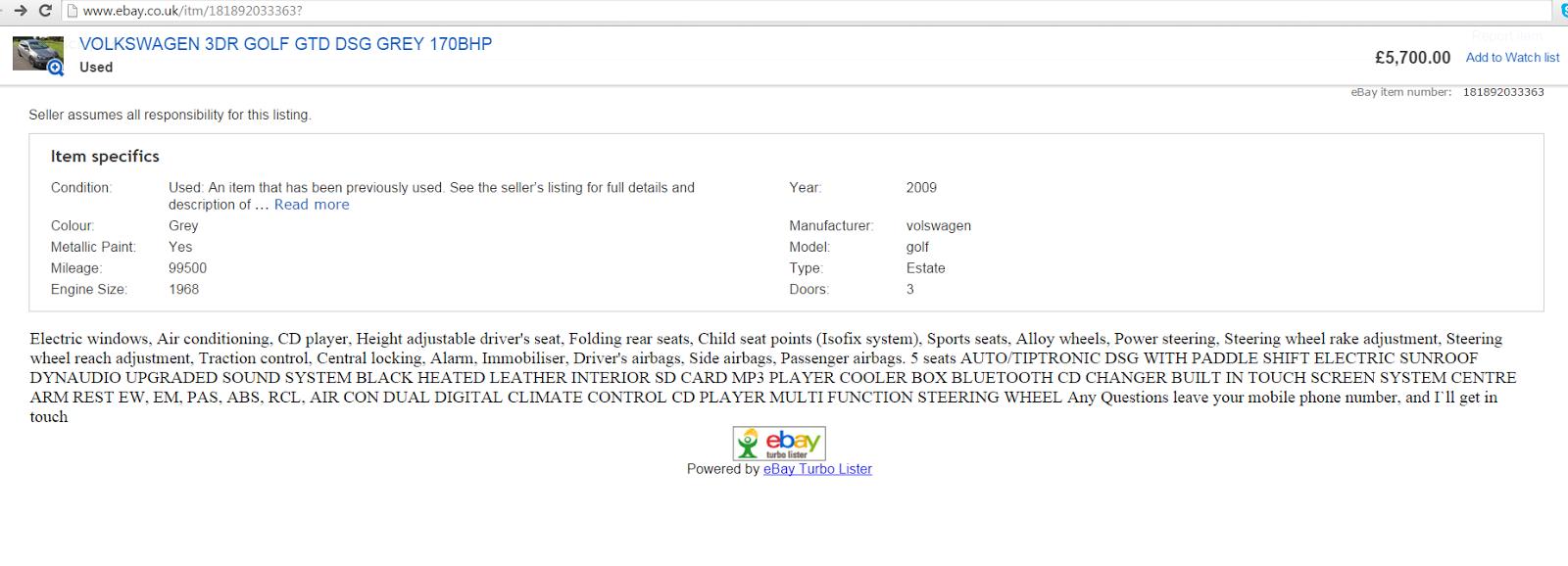 Ebay scam volkswagen 3dr golf gtd dsg grey 170bhp sl59pnn fraud sl59 pnn 05 oct 15