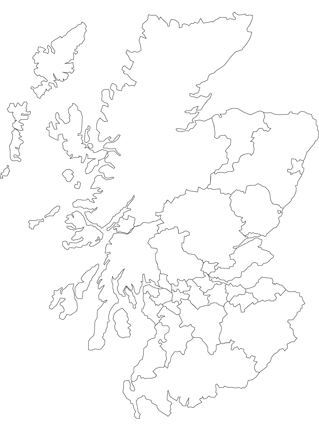 Printable outline map of Scotland and its districts.